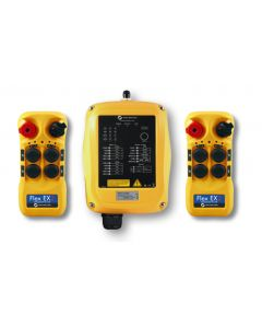 Flex EX2 system - One 110VAC receiver and two transmitters with four 2-speed pushbuttons (2-motion, 2-speed with E-stop, Off/On/Start)