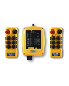 Flex EX2 system - One 110VAC receiver and two transmitters with six 2-speed pushbuttons (3-motion, 2-speed with E-stop, Off/On/Start)