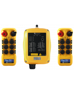 Flex EX2 system - One 24VAC receiver and two transmitters with six 2-speed pushbuttons (3-motion, 2-speed with E-stop, Off/On/Start)