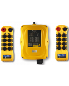 Flex EX2 system - One 24VAC receiver and two transmitters with eight 2-speed pushbuttons (4-motion, 2-speed with E-stop, Off/On/Start)
